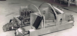 <p>The sheet steel understructure of SR with the Coventry Climax engine in the back.</p>