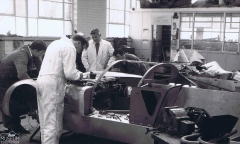 <p>Barry Bilbie and Derek Westwood laid out the body lines which were reproduced in plywood sections for the body buck. Using the wooden buck, Bill Buckingham and Terry Westwood then produced the sheet metal skin in Birmabright.</p>